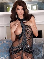 Stunning Emily Addison teases her viewers while wearing a sexy see-through dress